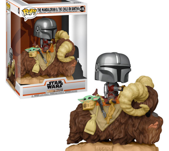 FunkoPOP Star Wars The Mandalorian Mando on Bantha with Child in Bag